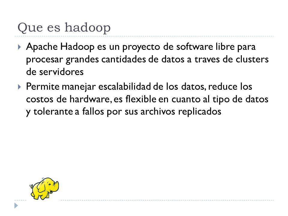 Que es hadoop Apache Hadoop es un proyecto de software libre para procesar grandes cantidades de datos a traves de clusters de servidores.