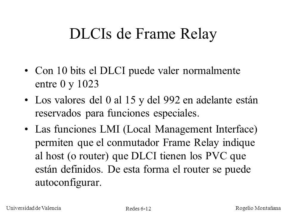 Redes Frame Relay y ATM DLCIs de Frame Relay. Con 10 bits el DLCI puede valer normalmente entre 0 y 1023.