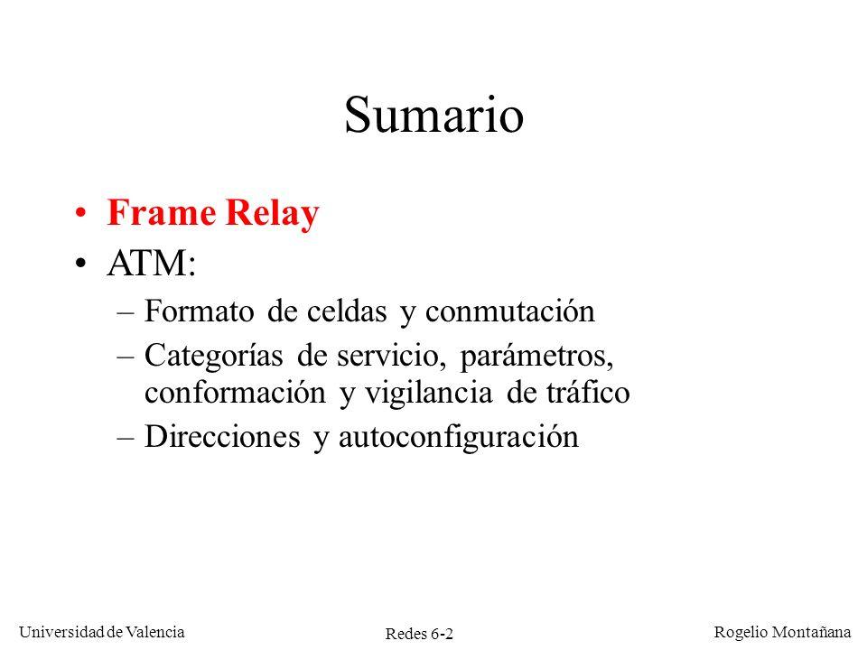 Sumario Frame Relay ATM: Formato de celdas y conmutación