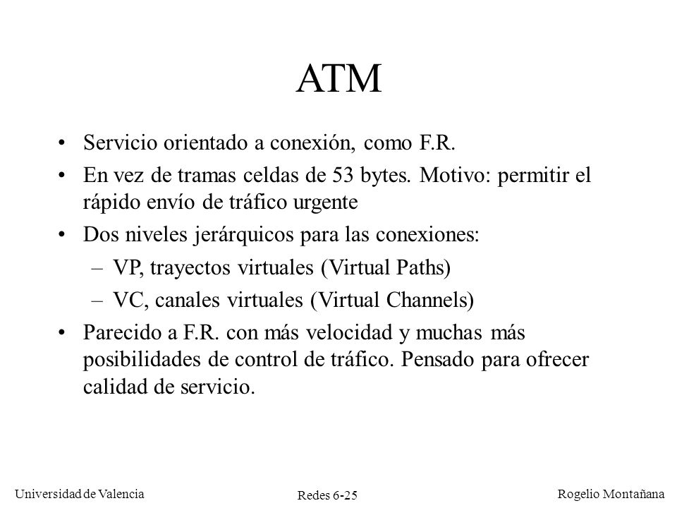 ATM Servicio orientado a conexión, como F.R.