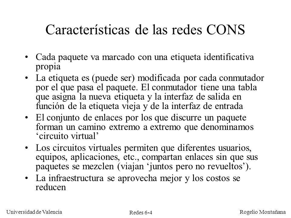 Características de las redes CONS