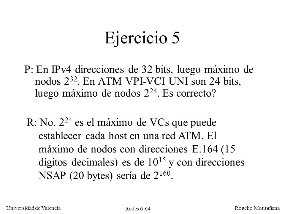 Redes Frame Relay y ATM Ejercicio 5.