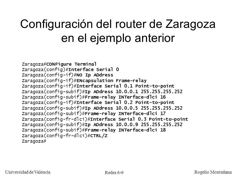 Configuración del router de Zaragoza en el ejemplo anterior