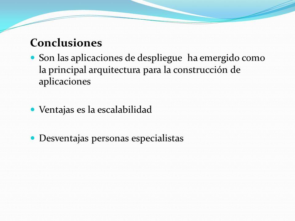 Conclusiones Son las aplicaciones de despliegue ha emergido como la principal arquitectura para la construcción de aplicaciones.