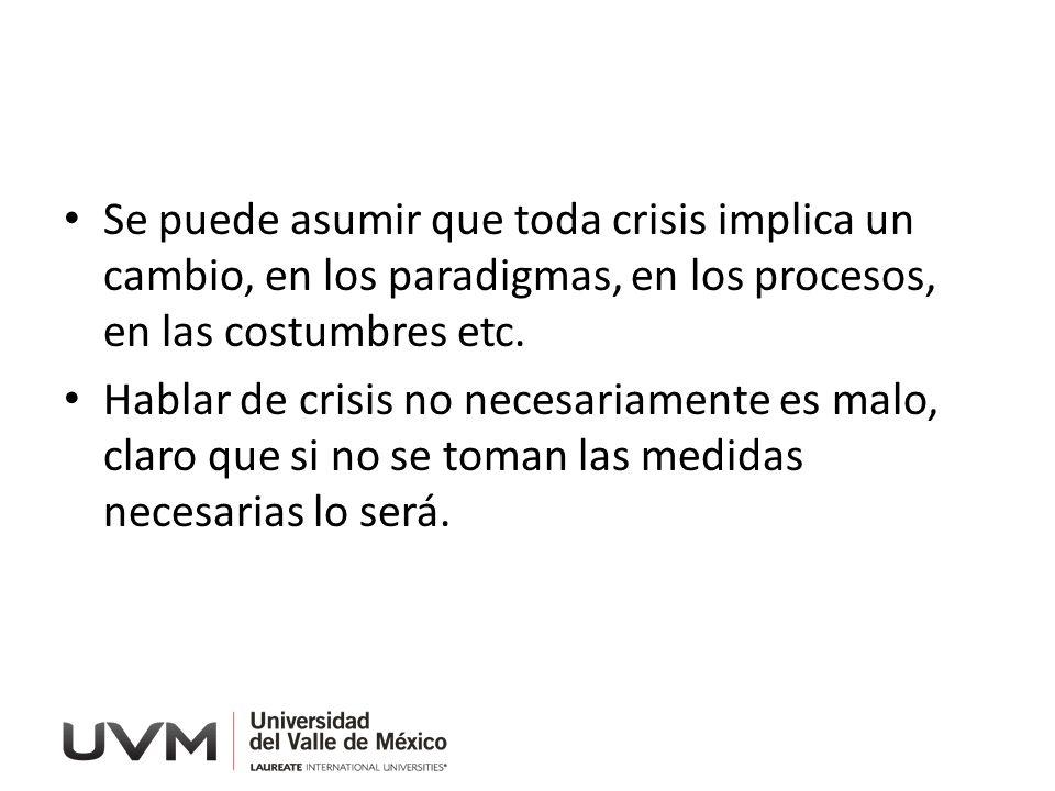Se puede asumir que toda crisis implica un cambio, en los paradigmas, en los procesos, en las costumbres etc.