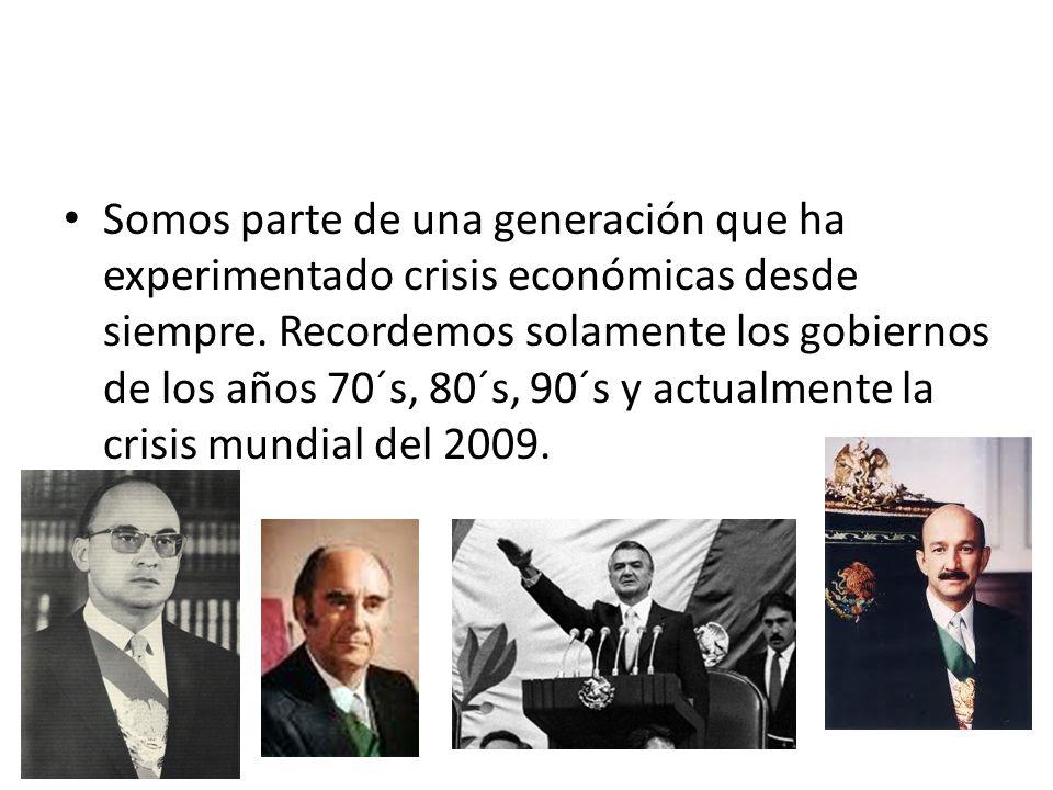 Somos parte de una generación que ha experimentado crisis económicas desde siempre.