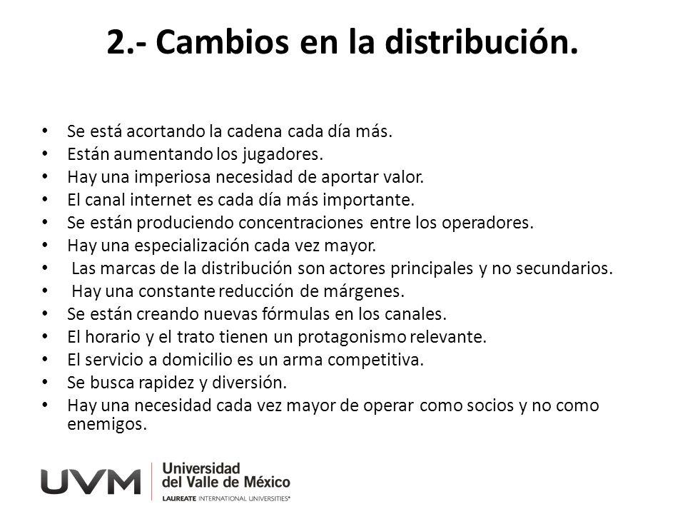 2.- Cambios en la distribución.