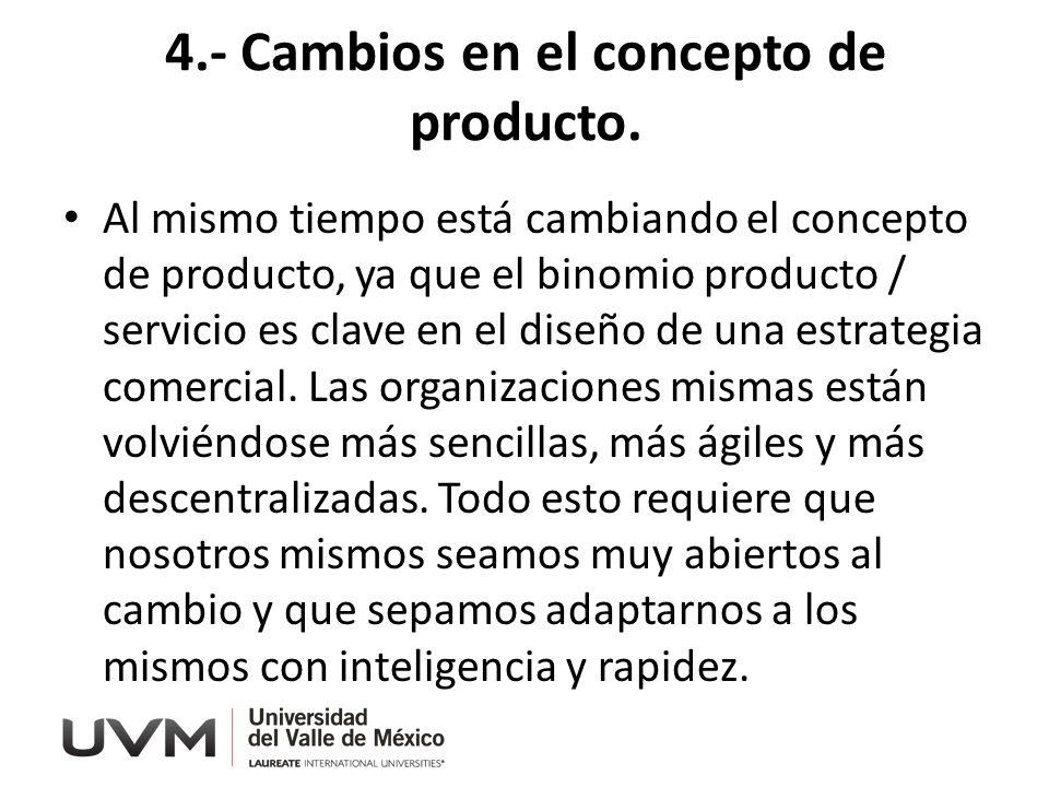 4.- Cambios en el concepto de producto.