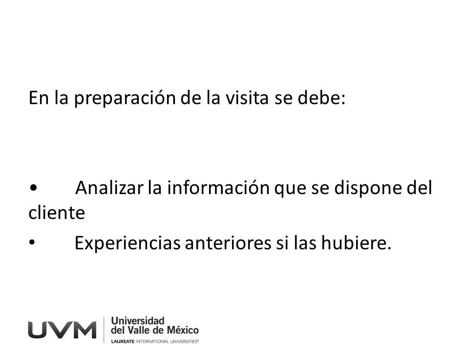 En la preparación de la visita se debe: