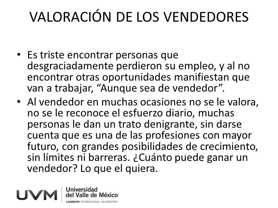 VALORACIÓN DE LOS VENDEDORES