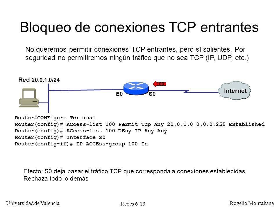 Bloqueo de conexiones TCP entrantes