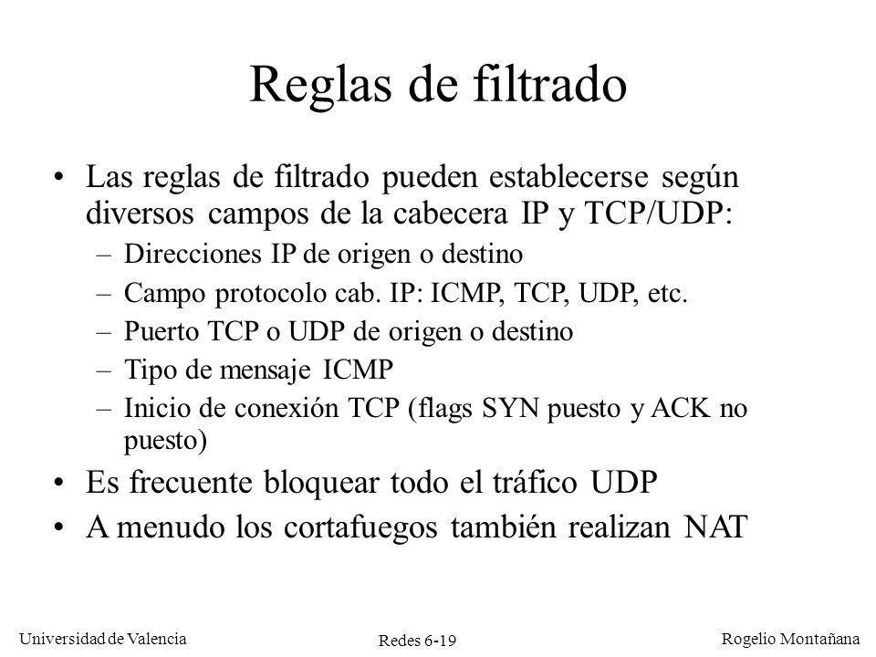 Miscelánea Reglas de filtrado. Las reglas de filtrado pueden establecerse según diversos campos de la cabecera IP y TCP/UDP: