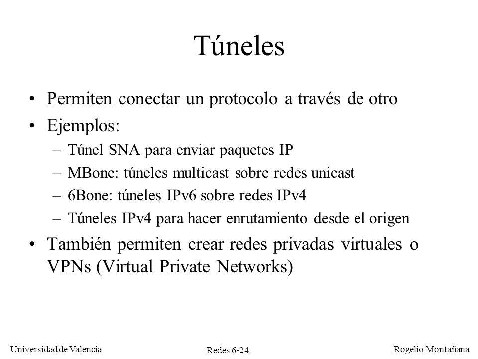 Túneles Permiten conectar un protocolo a través de otro Ejemplos: