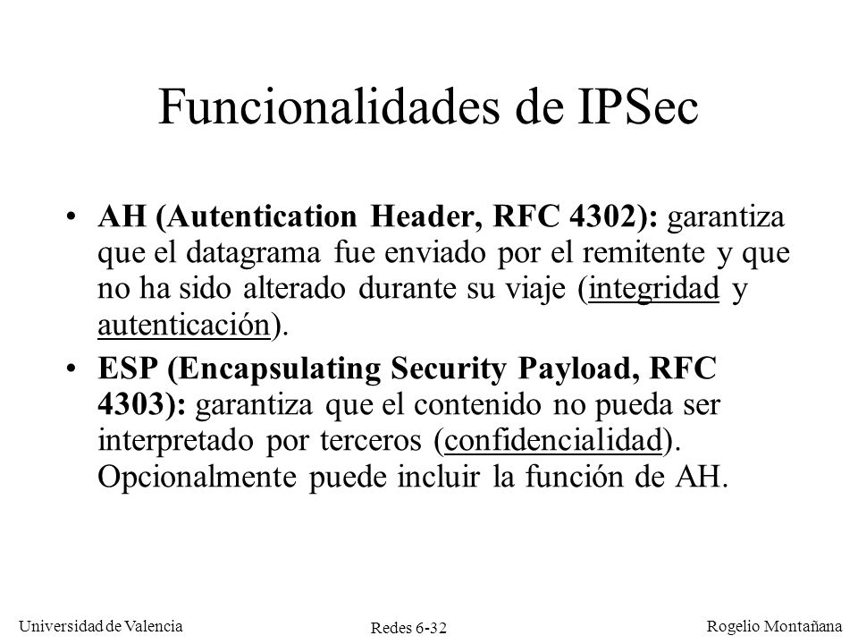 Funcionalidades de IPSec