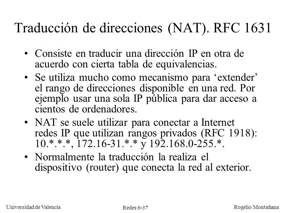 Traducción de direcciones (NAT). RFC 1631