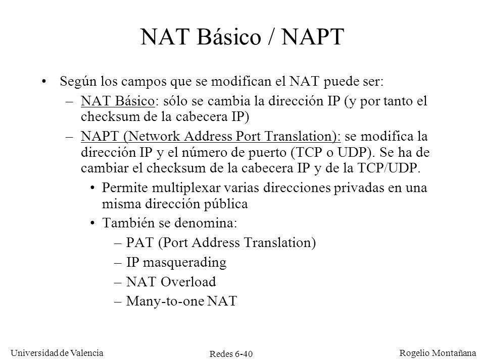 NAT Básico / NAPT Según los campos que se modifican el NAT puede ser: