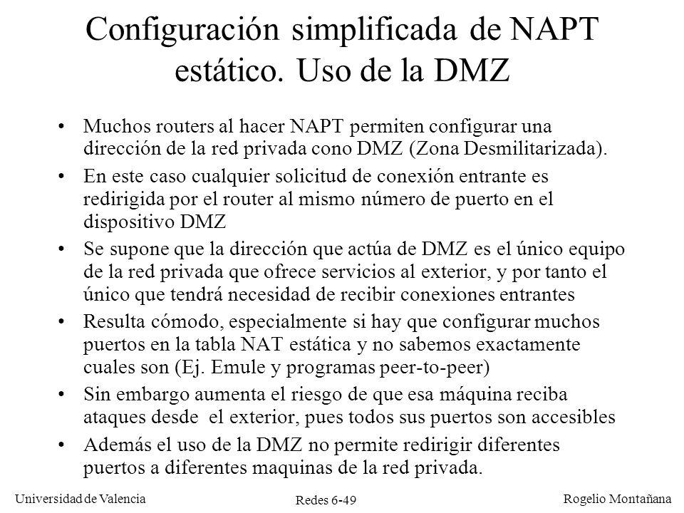 Configuración simplificada de NAPT estático. Uso de la DMZ