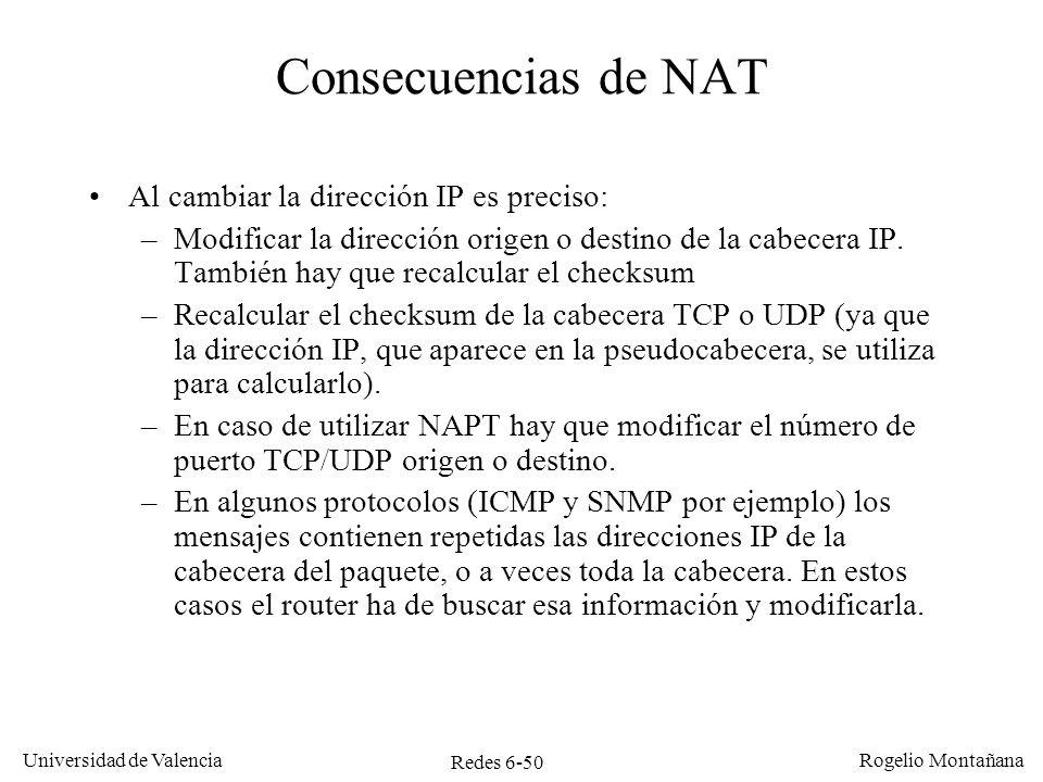 Consecuencias de NAT Al cambiar la dirección IP es preciso: