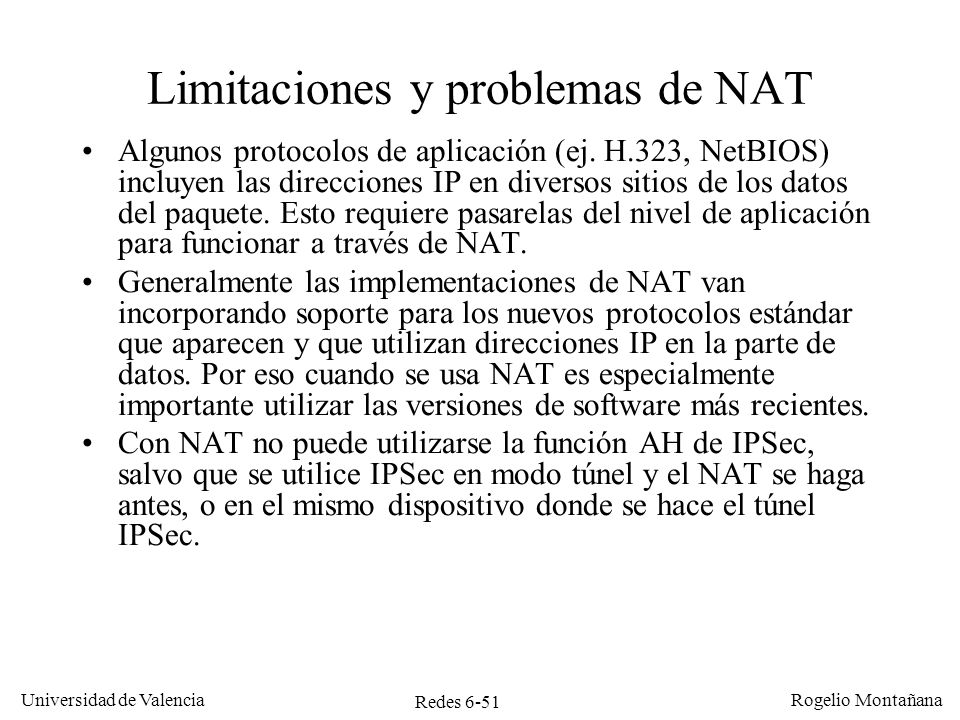 Limitaciones y problemas de NAT