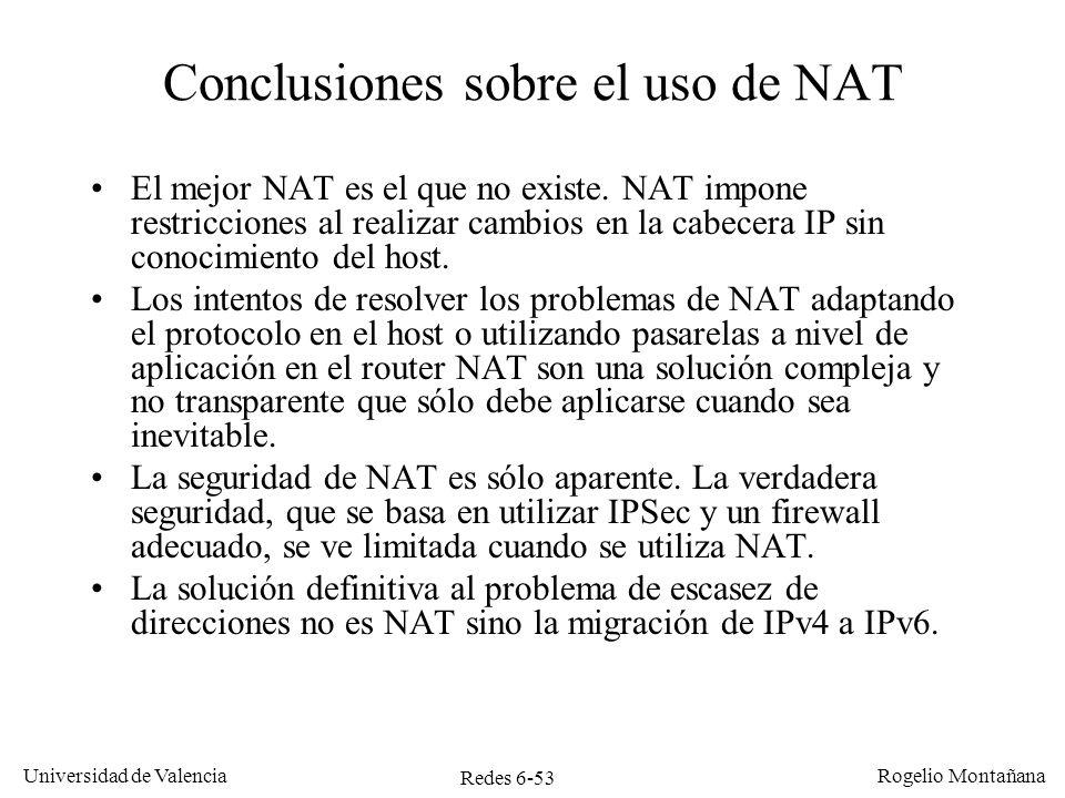 Conclusiones sobre el uso de NAT