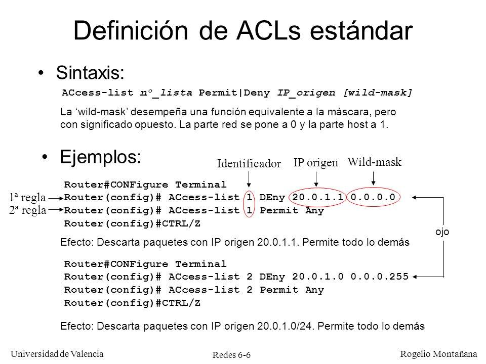 Definición de ACLs estándar