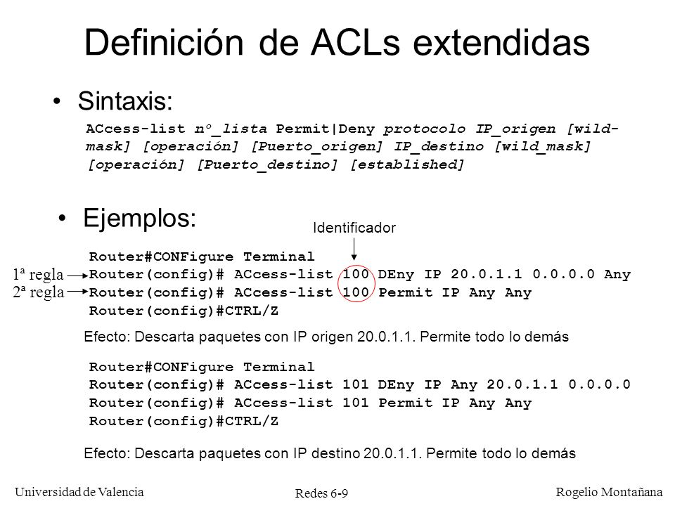Definición de ACLs extendidas