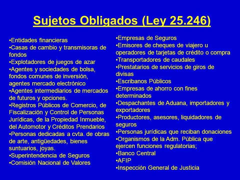 Sujetos Obligados (Ley 25.246)