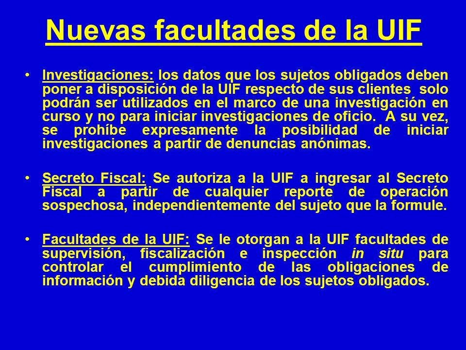 Nuevas facultades de la UIF