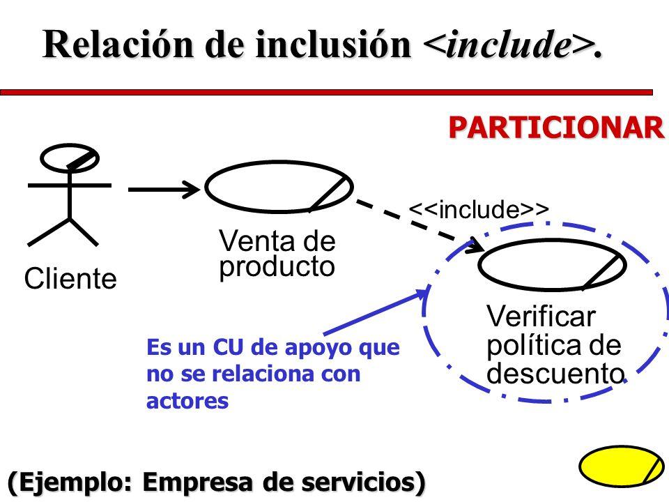 Relación de inclusión <include>.