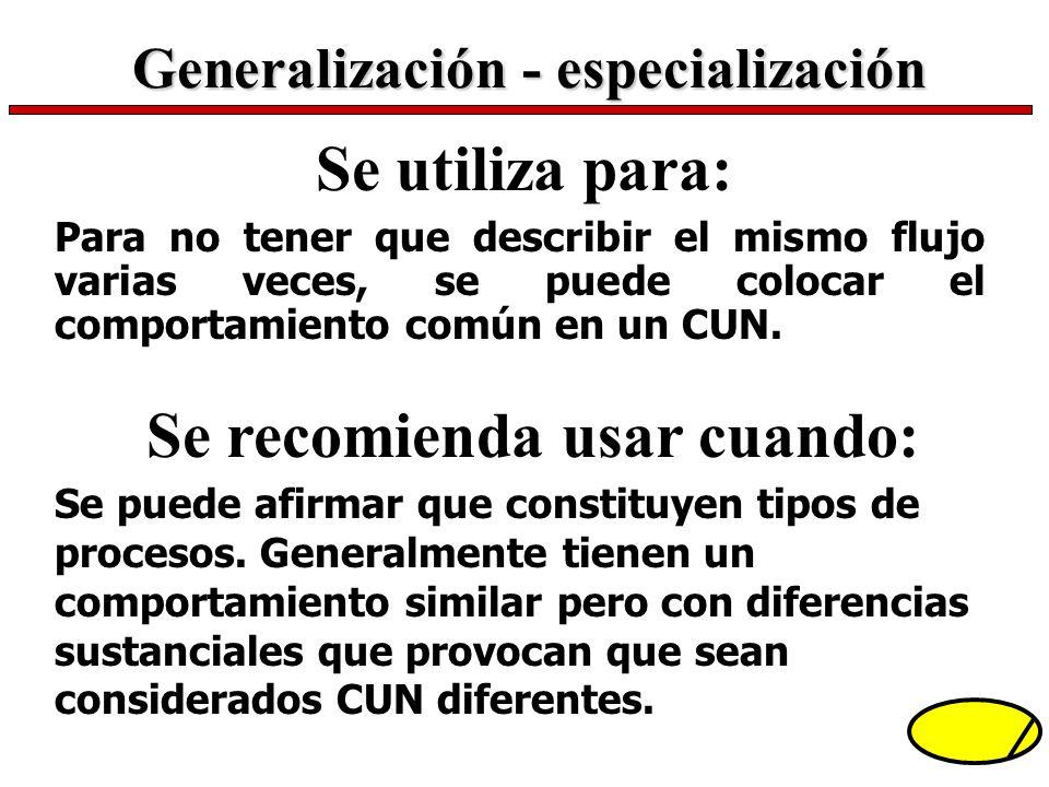 Generalización - especialización Se recomienda usar cuando: