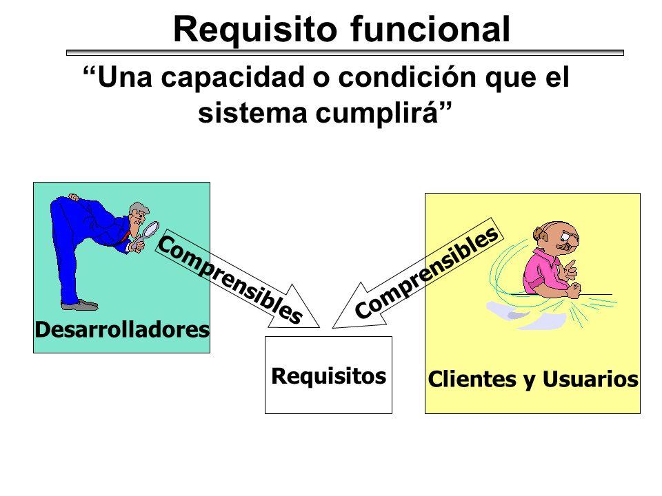 Una capacidad o condición que el sistema cumplirá