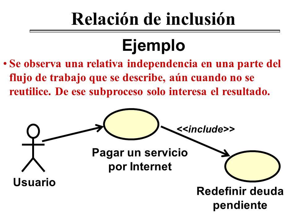 Pagar un servicio por Internet Redefinir deuda pendiente