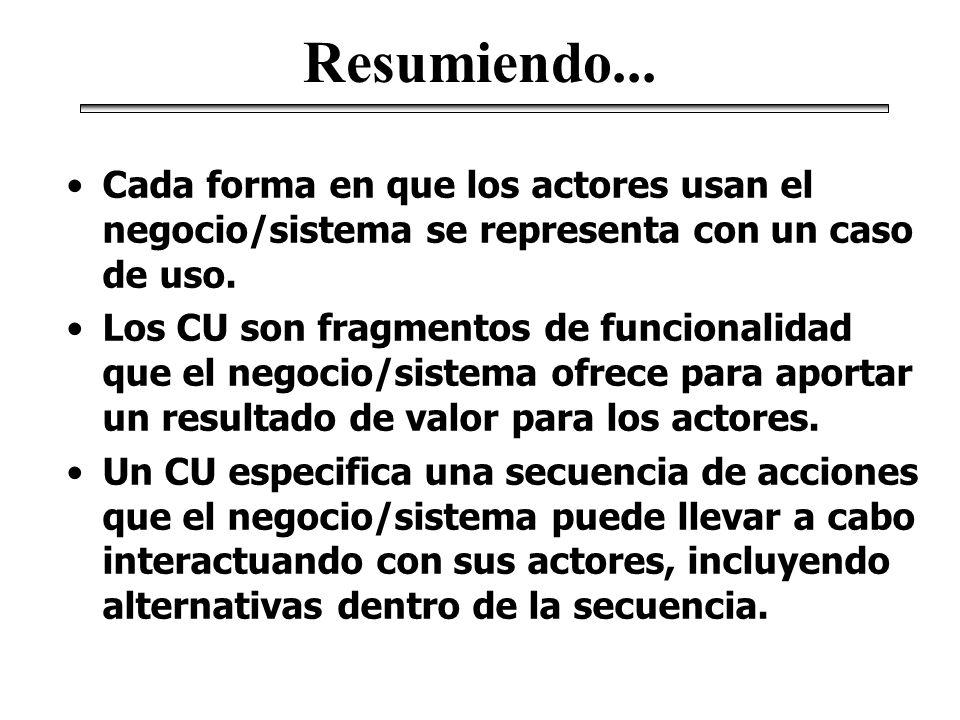 Resumiendo... Cada forma en que los actores usan el negocio/sistema se representa con un caso de uso.