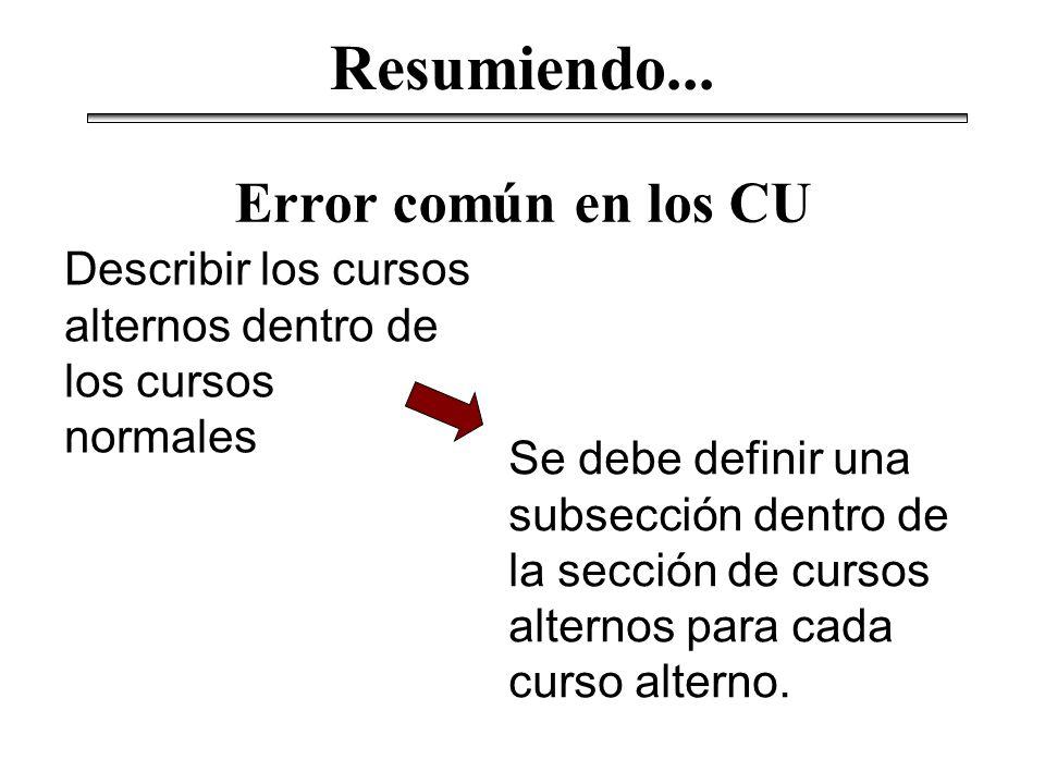 Resumiendo... Error común en los CU