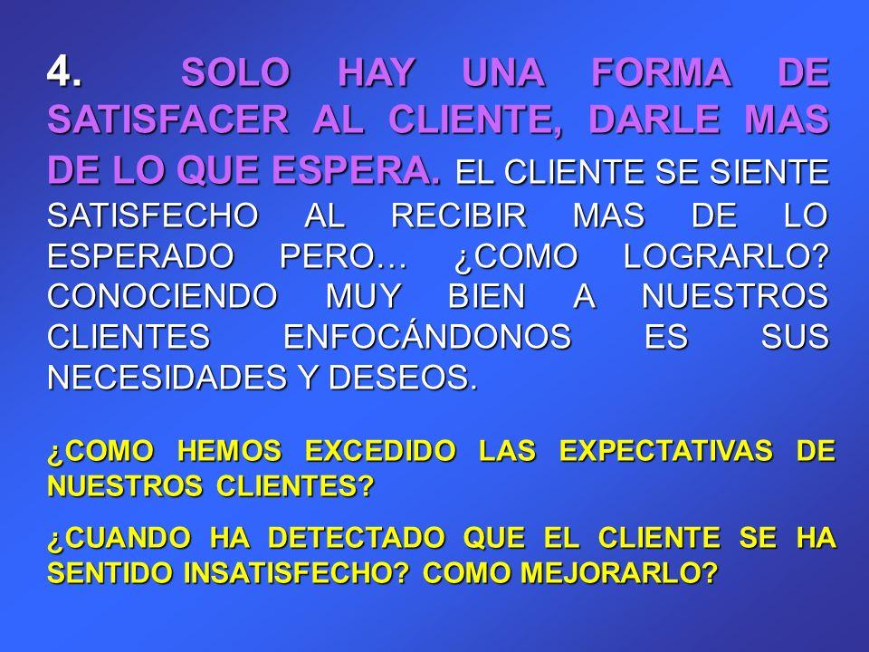 4. SOLO HAY UNA FORMA DE SATISFACER AL CLIENTE, DARLE MAS DE LO QUE ESPERA. EL CLIENTE SE SIENTE SATISFECHO AL RECIBIR MAS DE LO ESPERADO PERO… ¿COMO LOGRARLO CONOCIENDO MUY BIEN A NUESTROS CLIENTES ENFOCÁNDONOS ES SUS NECESIDADES Y DESEOS.