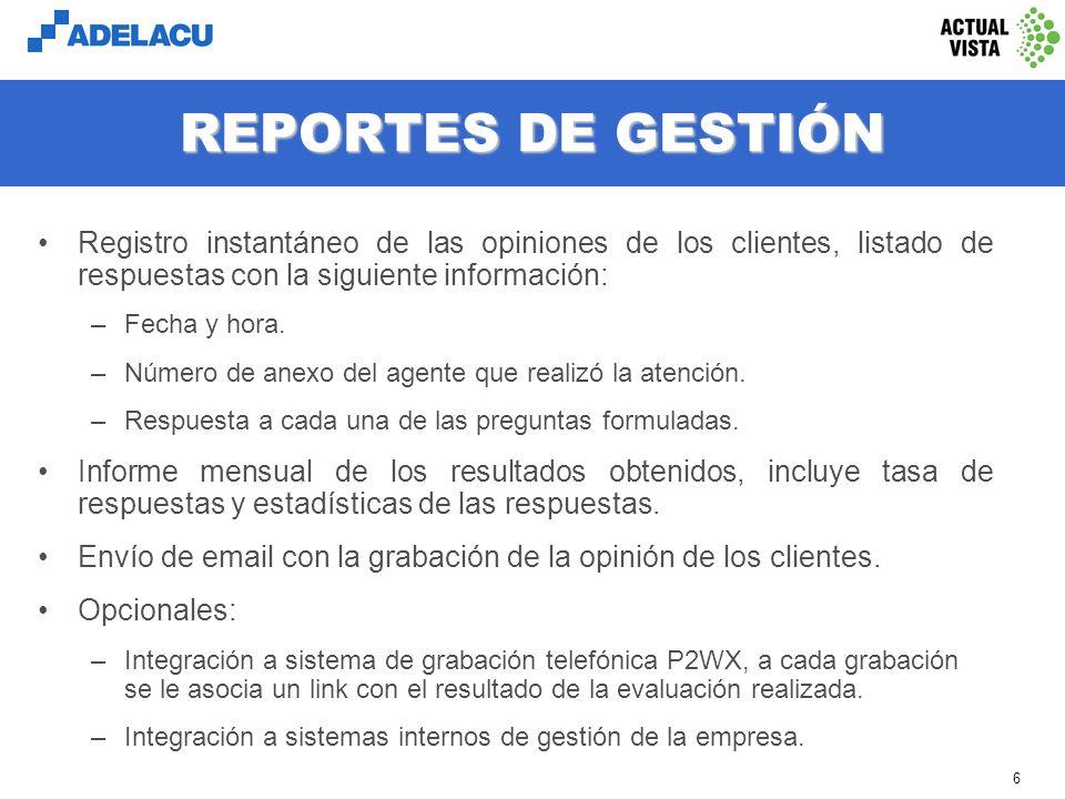 REPORTES DE GESTIÓN Registro instantáneo de las opiniones de los clientes, listado de respuestas con la siguiente información: