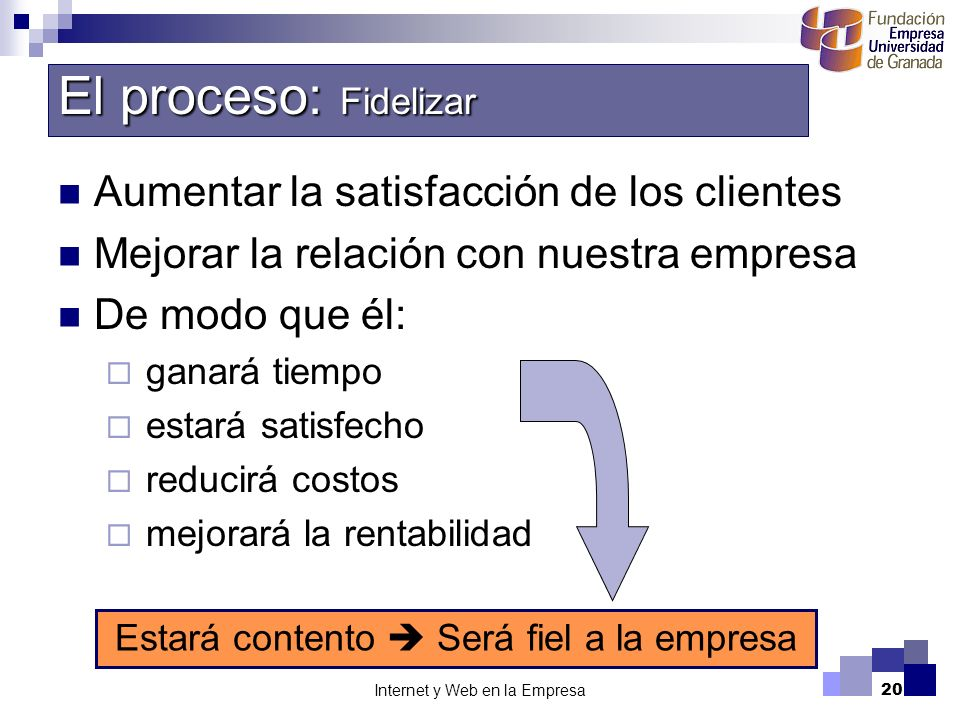 El proceso: Fidelizar Aumentar la satisfacción de los clientes