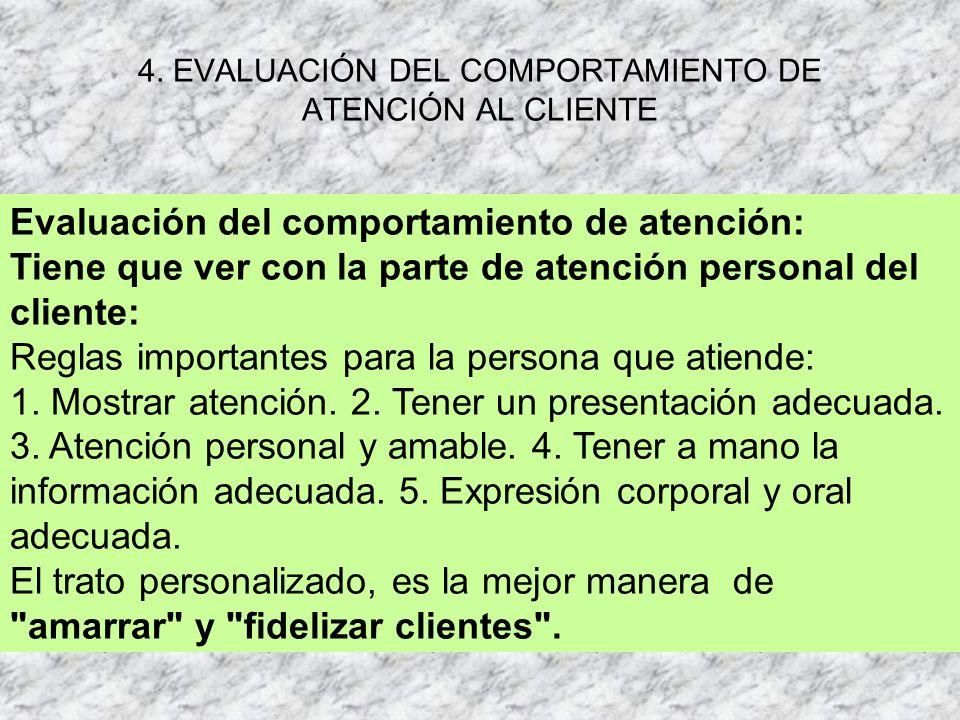 4. EVALUACIÓN DEL COMPORTAMIENTO DE ATENCIÓN AL CLIENTE