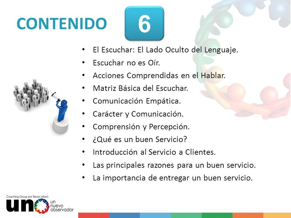 6 CONTENIDO El Escuchar: El Lado Oculto del Lenguaje.