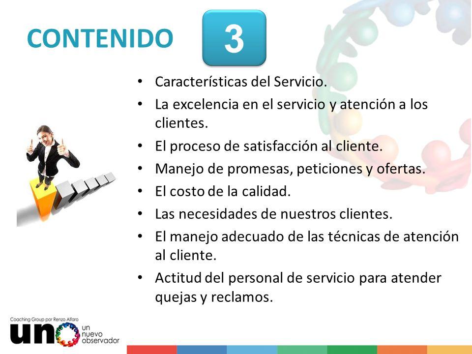3 CONTENIDO Características del Servicio.