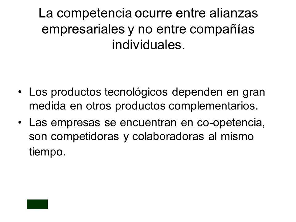 La competencia ocurre entre alianzas empresariales y no entre compañías individuales.