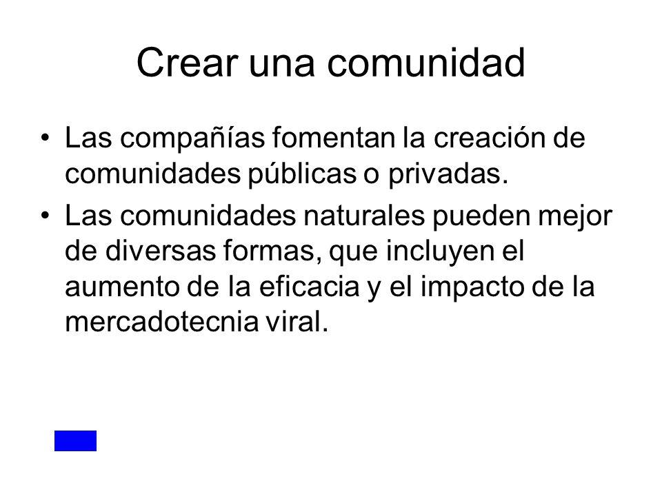 Crear una comunidad Las compañías fomentan la creación de comunidades públicas o privadas.