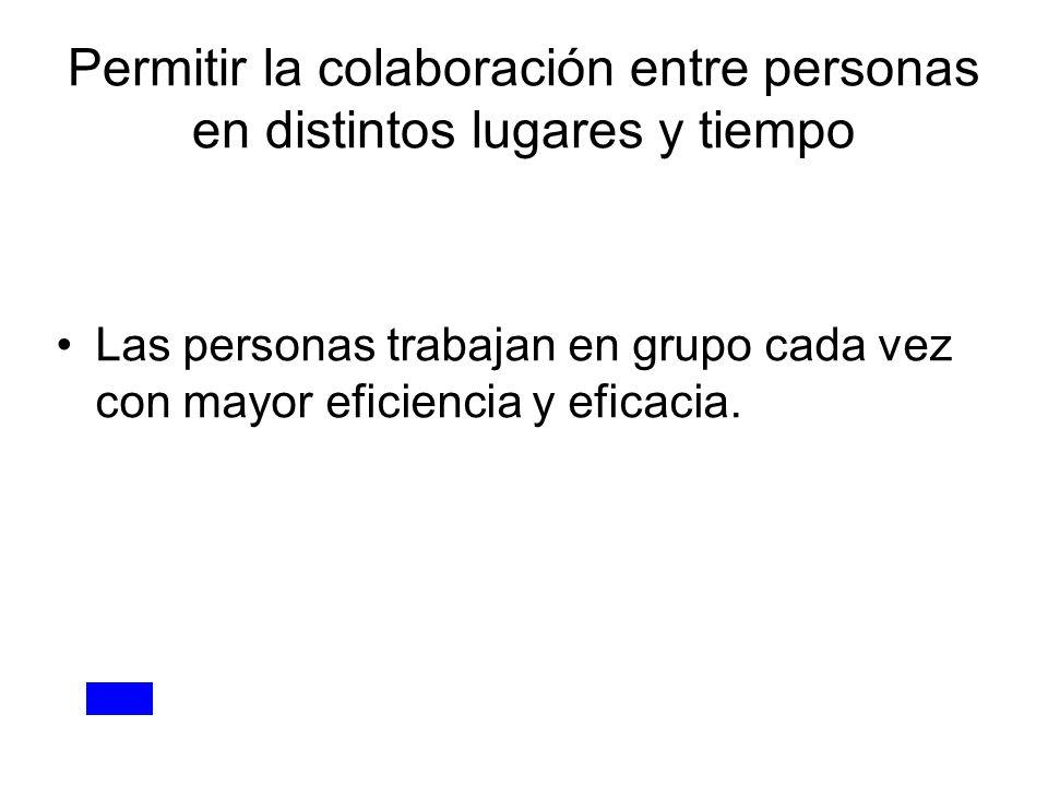 Permitir la colaboración entre personas en distintos lugares y tiempo