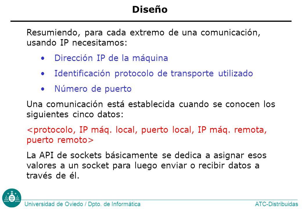 Diseño Resumiendo, para cada extremo de una comunicación, usando IP necesitamos: Dirección IP de la máquina.