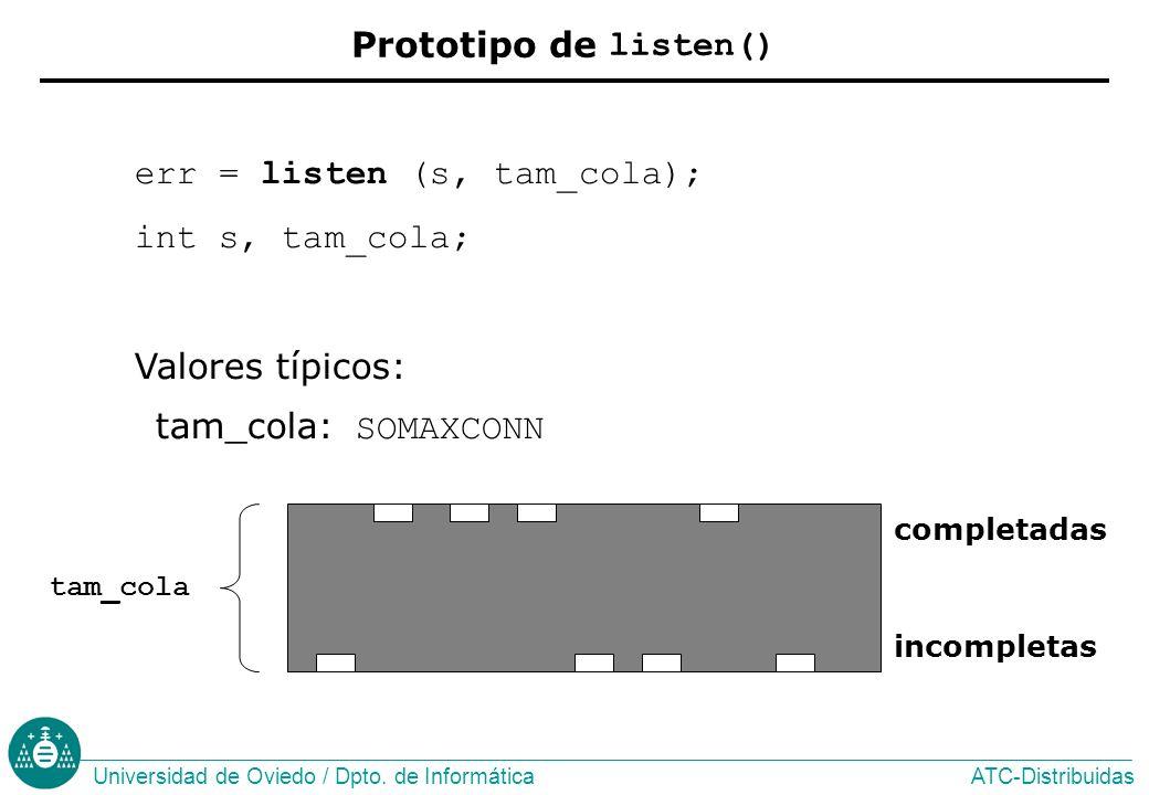 err = listen (s, tam_cola); int s, tam_cola;