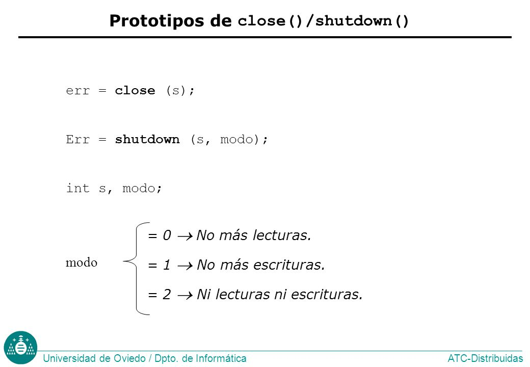 Prototipos de close()/shutdown()
