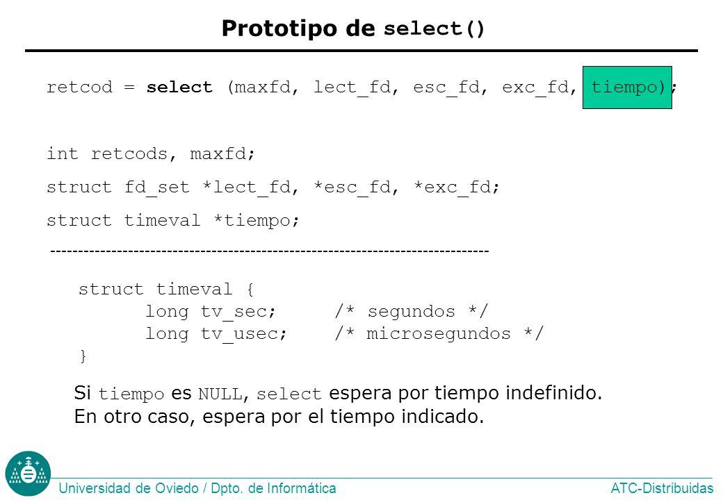 Prototipo de select() struct timeval { long tv_sec; /* segundos */ long tv_usec; /* microsegundos */