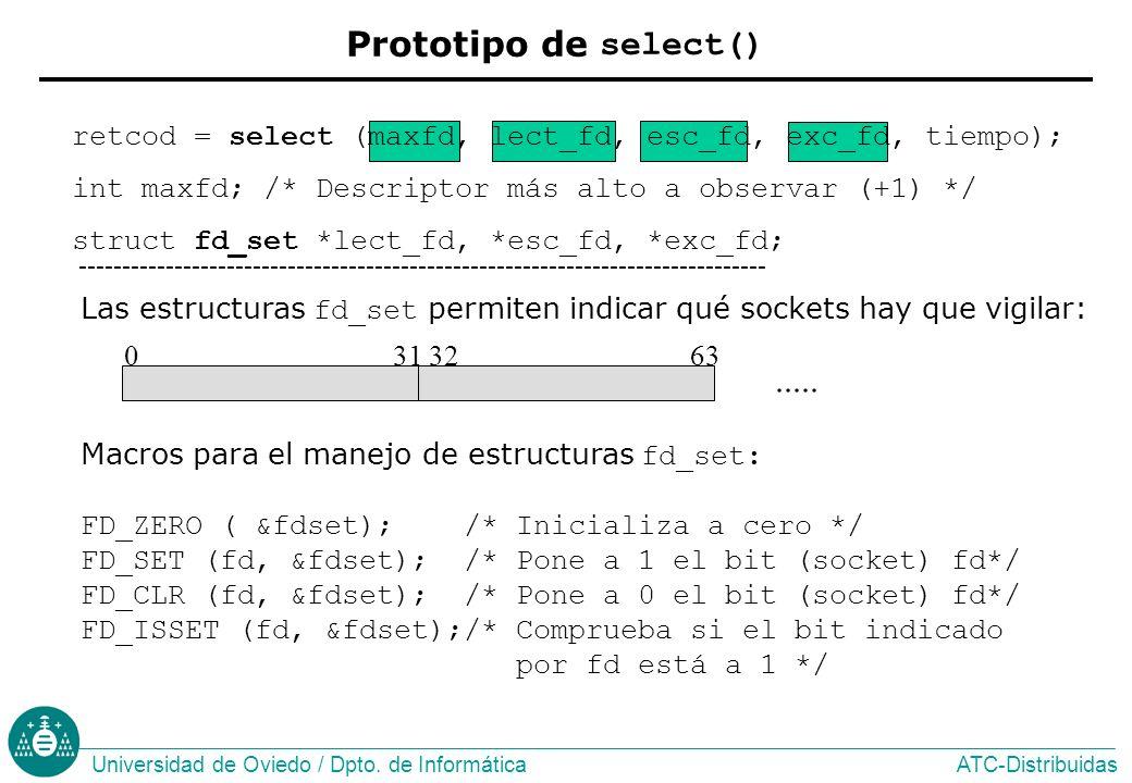 Prototipo de select() retcod = select (maxfd, lect_fd, esc_fd, exc_fd, tiempo); int maxfd; /* Descriptor más alto a observar (+1) */