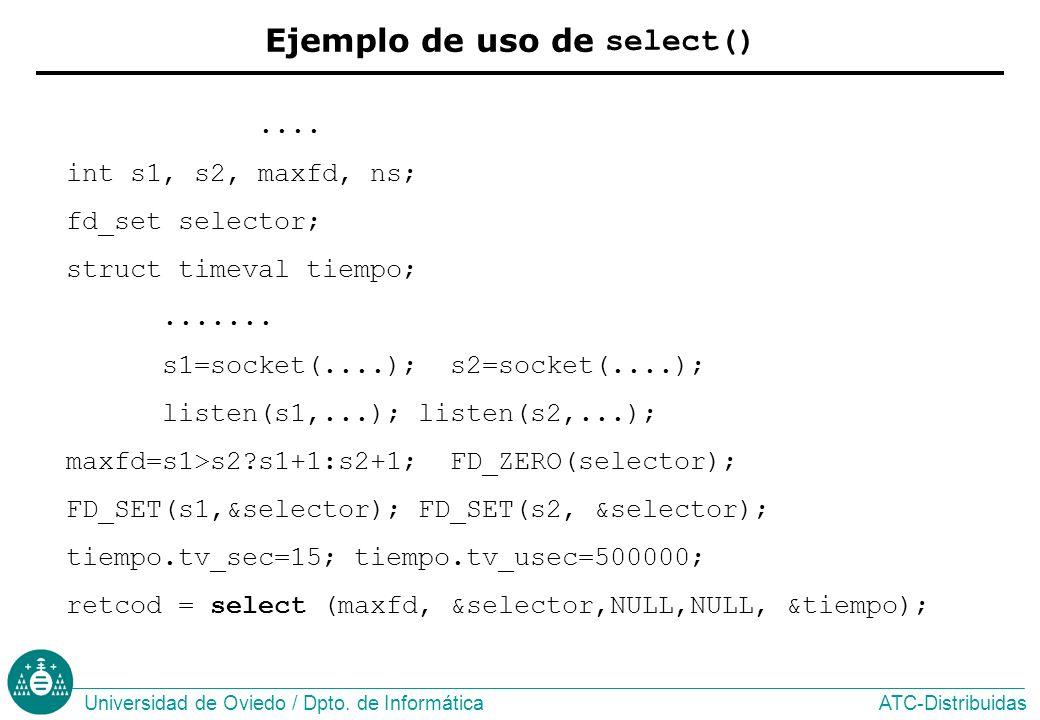 Ejemplo de uso de select()