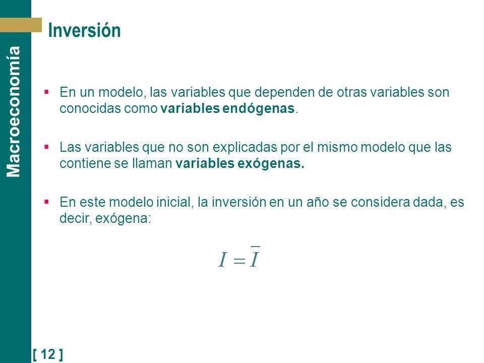 Inversión En un modelo, las variables que dependen de otras variables son conocidas como variables endógenas.